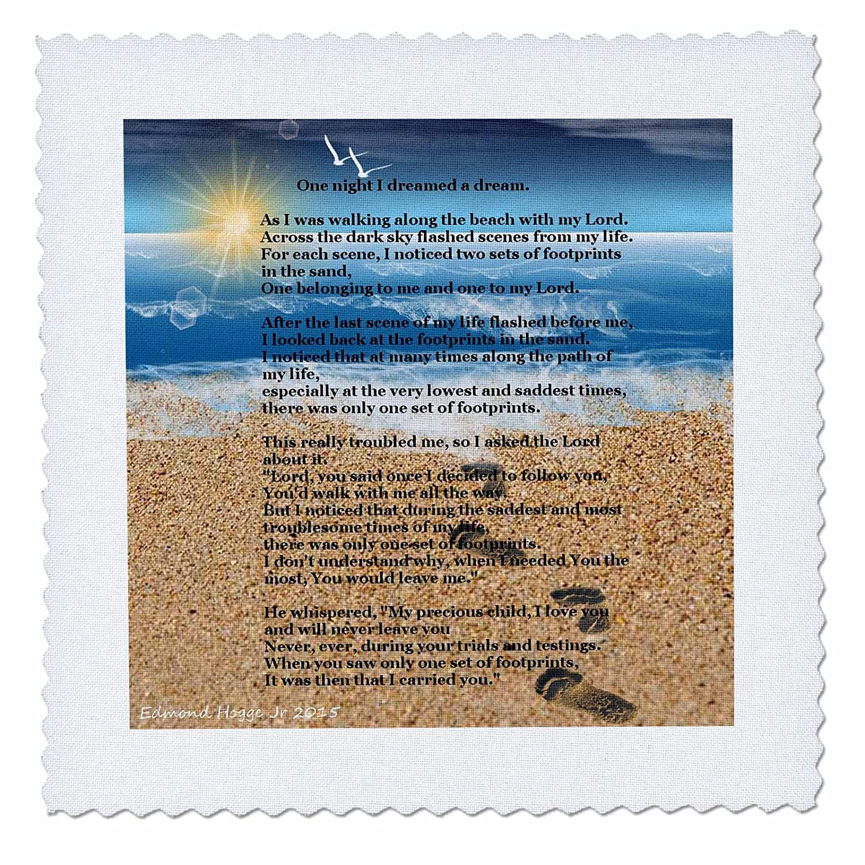 3dRose Footprints In The sand on Beach with Poem - キルト正方形、25.4 x 25.4 cm (qs_204469_1) B00UF0B69E