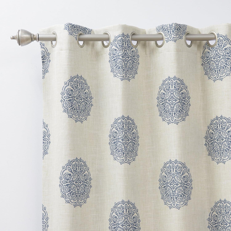 """Best Home Fashion Faux Linen Blackout Curtains - Rod Pocket - 52""""W x 84""""L - Grey"""