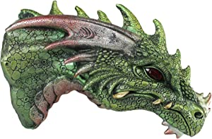 Ebros Gift Fantasy Metallic Green Spiked Dragon Head Wall Decor Plaque With LED Illuminated Eyes Dungeons And Dragons Medieval Renaissance Legends Hanging Sculpture Home Decor