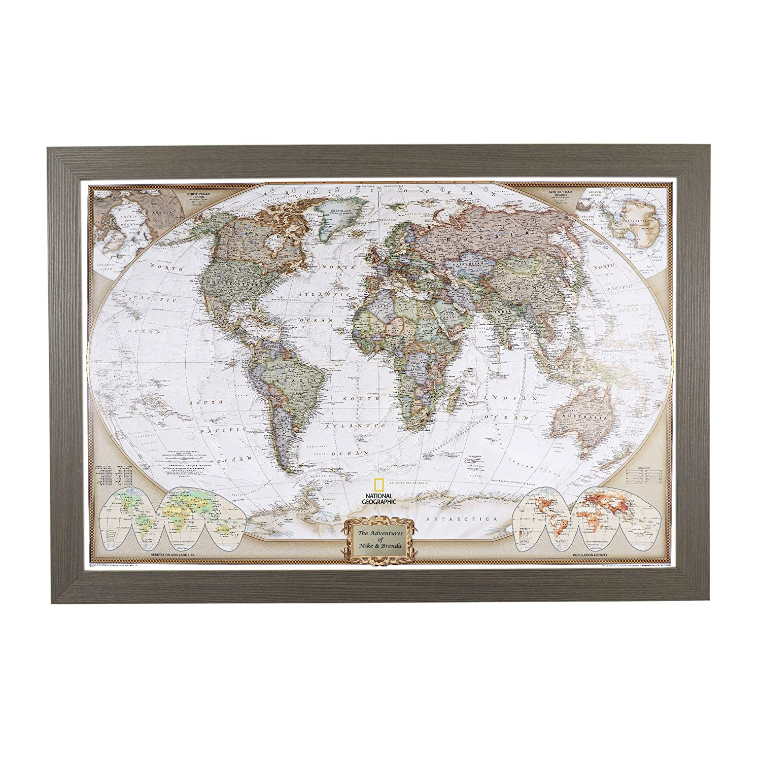 Push Pin Travel Maps Personalized Executive World with Barnwood Gray Frame  and Pins - 27.5 inches x 39.5 inches
