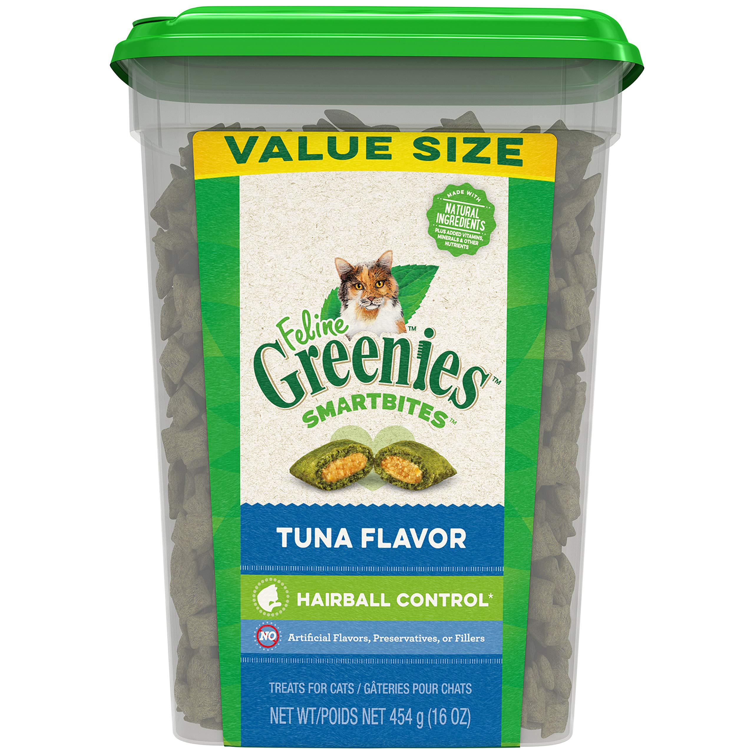 Greenies Feline SMARTBITES Hairball Control Natural Treats for Cats, Tuna Flavor, 16 oz. Tub by Greenies