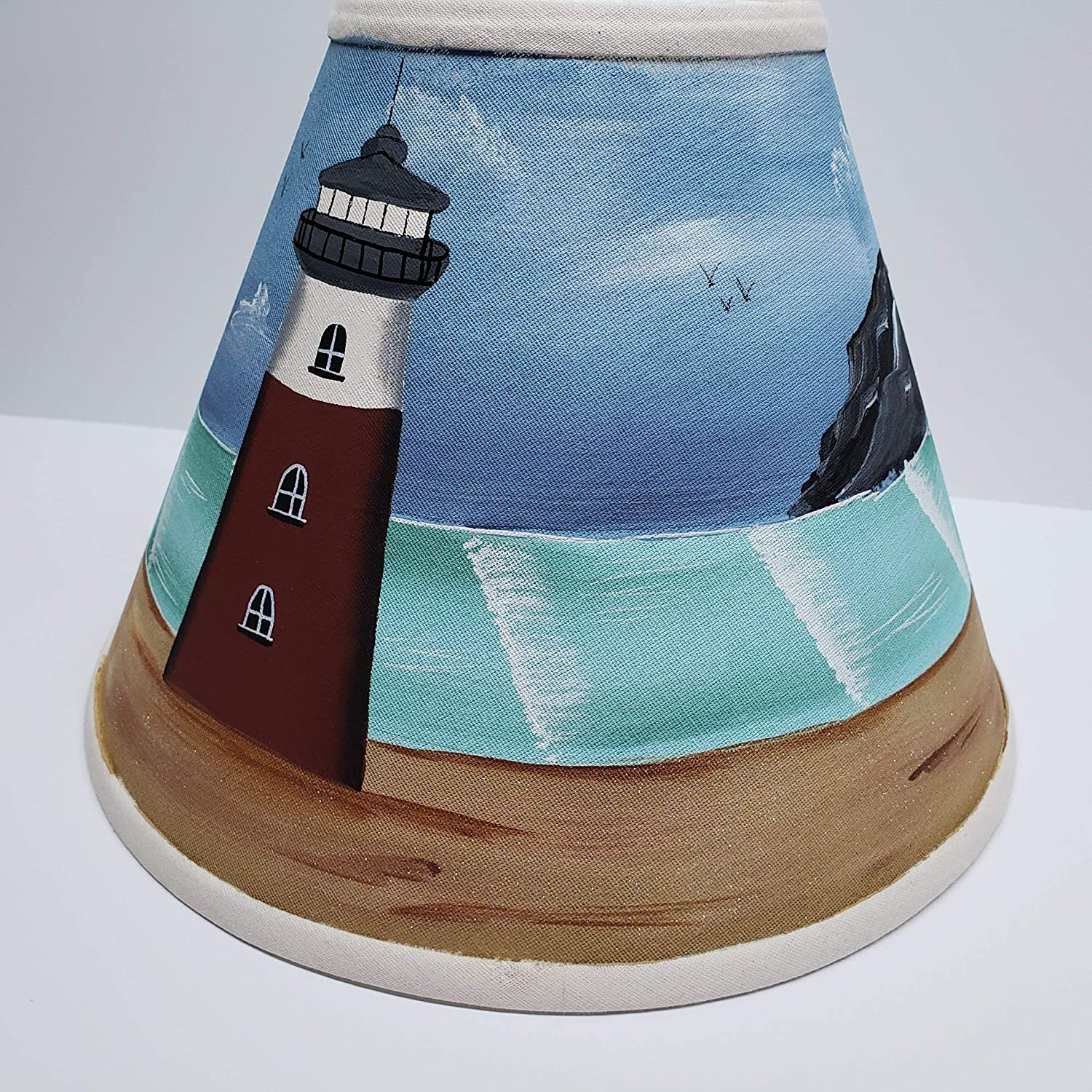Primitive Country Decor Linen Light House Nautical Ocean Hand Painted Lamp Shade All Sizes