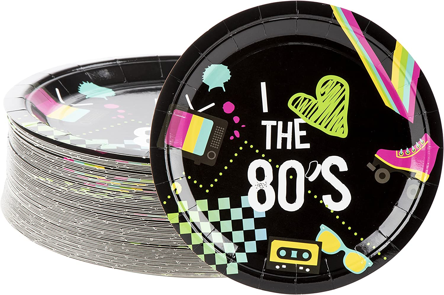 80 Pack of Paper Plates for 80's Party Decorations (9 Inches)