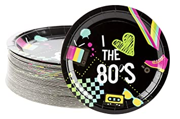 Disposable Plates - 80-Count Paper Plates, Totally 80s Party Supplies for  Appetizer, Lunch, Dinner, and