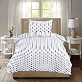 Ahmedabad Cotton Comfort 160 TC Cotton Single Bedsheet with Pillow Cover - Geometric, White and Grey
