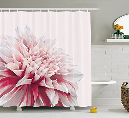 Ambesonne Dahlia Shower Curtain Close Up Blossom With Red And White Petals One Single