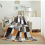Tache 50x60 Fall Farmhouse Super Soft Patchwork Throw Blanket