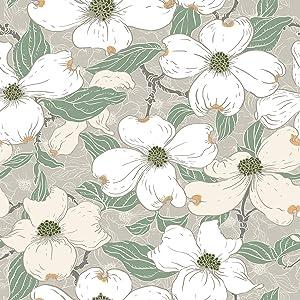 Home Decor Line CR-68411 White Blossom Premium Window Film, Grey