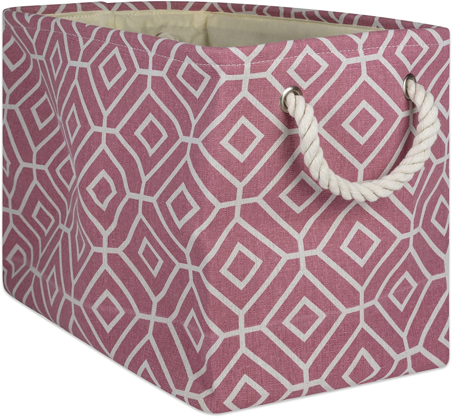 DII CAMZ10004 Collapsible Polyester Storage Basket Or Bin with Durable Cotton Handles, Home Organizer Solution for Office, Bedroom Closet, Toys, and Laundry, Medium-16x10x12, Stained Glass Rose