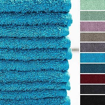 Lumaland Premium Set 10 toallitas Suaves Bidet 30 x 30 Hechas de 100% algodón 500 g/m² con Cinta para Colgar Turquesa: Amazon.es: Hogar