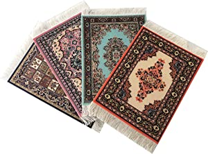 Inusitus Set of 4 Dolls House Rugs for Dollhouse Furniture - Miniature Woven Dollhouse Carpet (Mix-3)