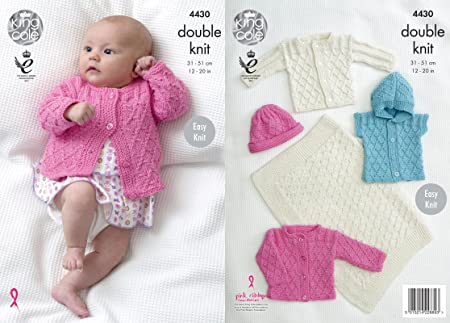 King Cole 4430 Knitting Pattern Easy Knit Baby Blanket Jackets