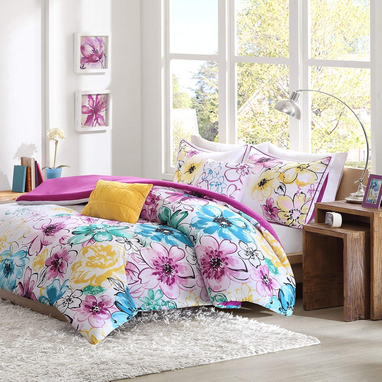 bluee Full Queen Intelligent Design Olivia Comforter Set Twin Twin XL Size - Purple bluee, Floral – 4 Piece Bed Sets – Ultra Soft Microfiber Teen Bedding for Girls Bedroom