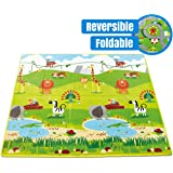 Hape Baby FOLDING Play Mat for Floor | Reversible Thick, Extra Large Foam Playmat Encourages Learning, Non Toxic, Printed, Colorful | Ideal for Tummy Time, for Babies 3 mos +