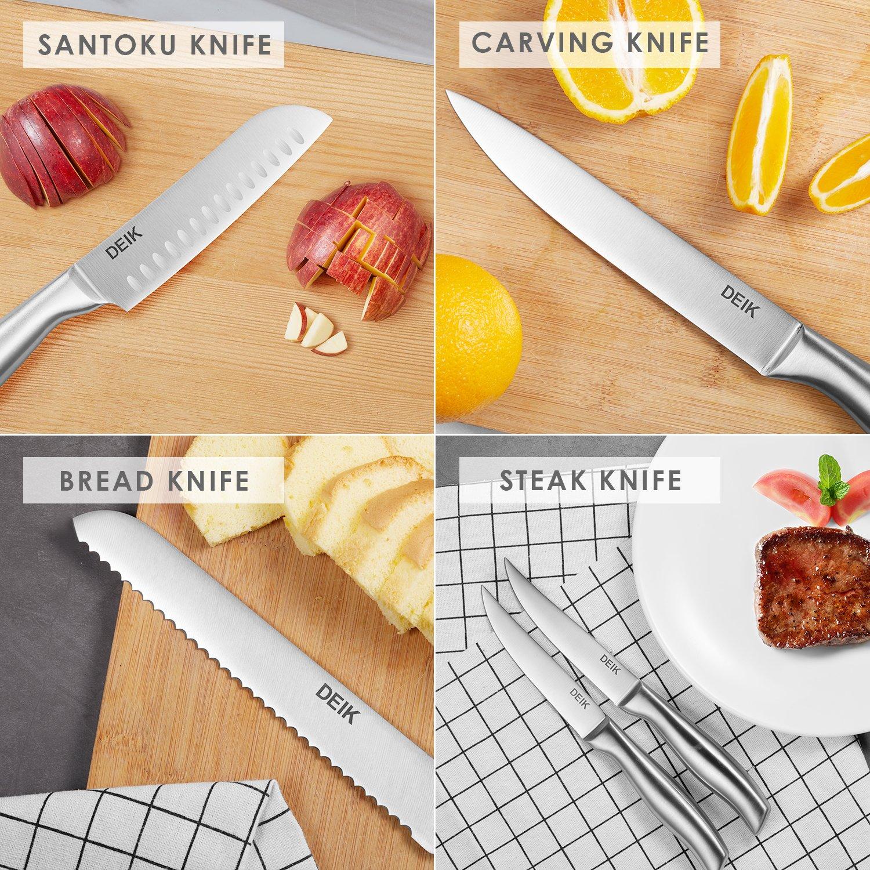Deik Set de cuchillos de chef profesional de acero inoxidable con bloque de madera 16 Piezas Negro