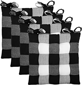 COTTON CRAFT Countryside Set of 4 Dining/Kitchen Chair Pads with Ties, 17x17 inch Black Buffalo Check