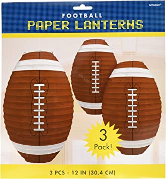Mudder 6 Pieces Football Paper Lanterns Football Hanging Decoration Sports Ball Hanging Lantern for Birthday Baby Shower Sports Party Supply 12 Inches