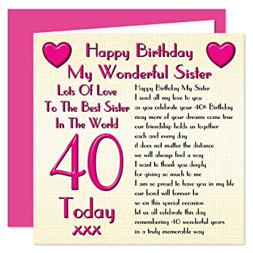 Sister 40th Happy Birthday Card