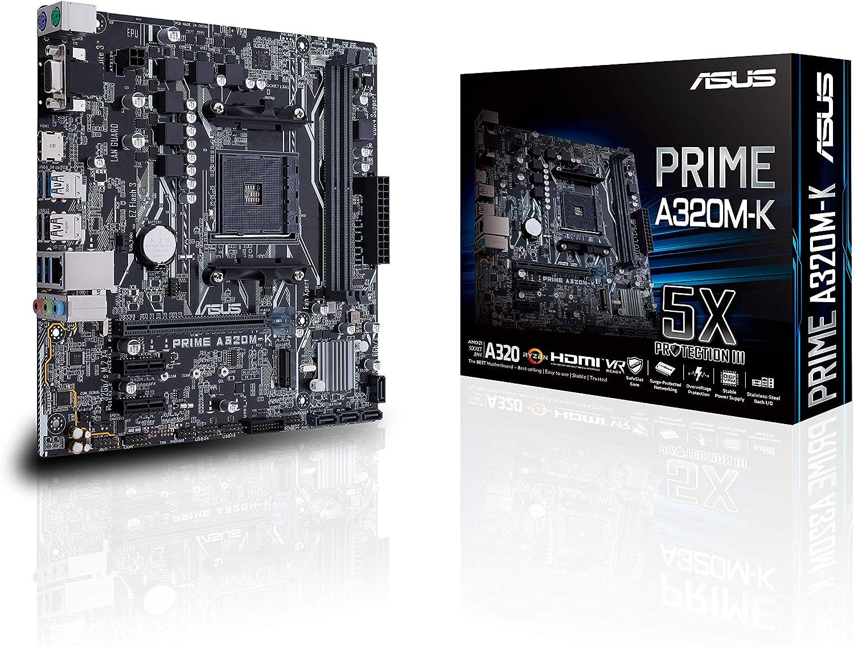 ASUS PRIME A320M-K - Placa Base AMD AM4 mATX con iluminación LED, DDR4 3200MHz, 32Gb/s M.2, HDMI, SATA 6Gb/s, USB 3.0