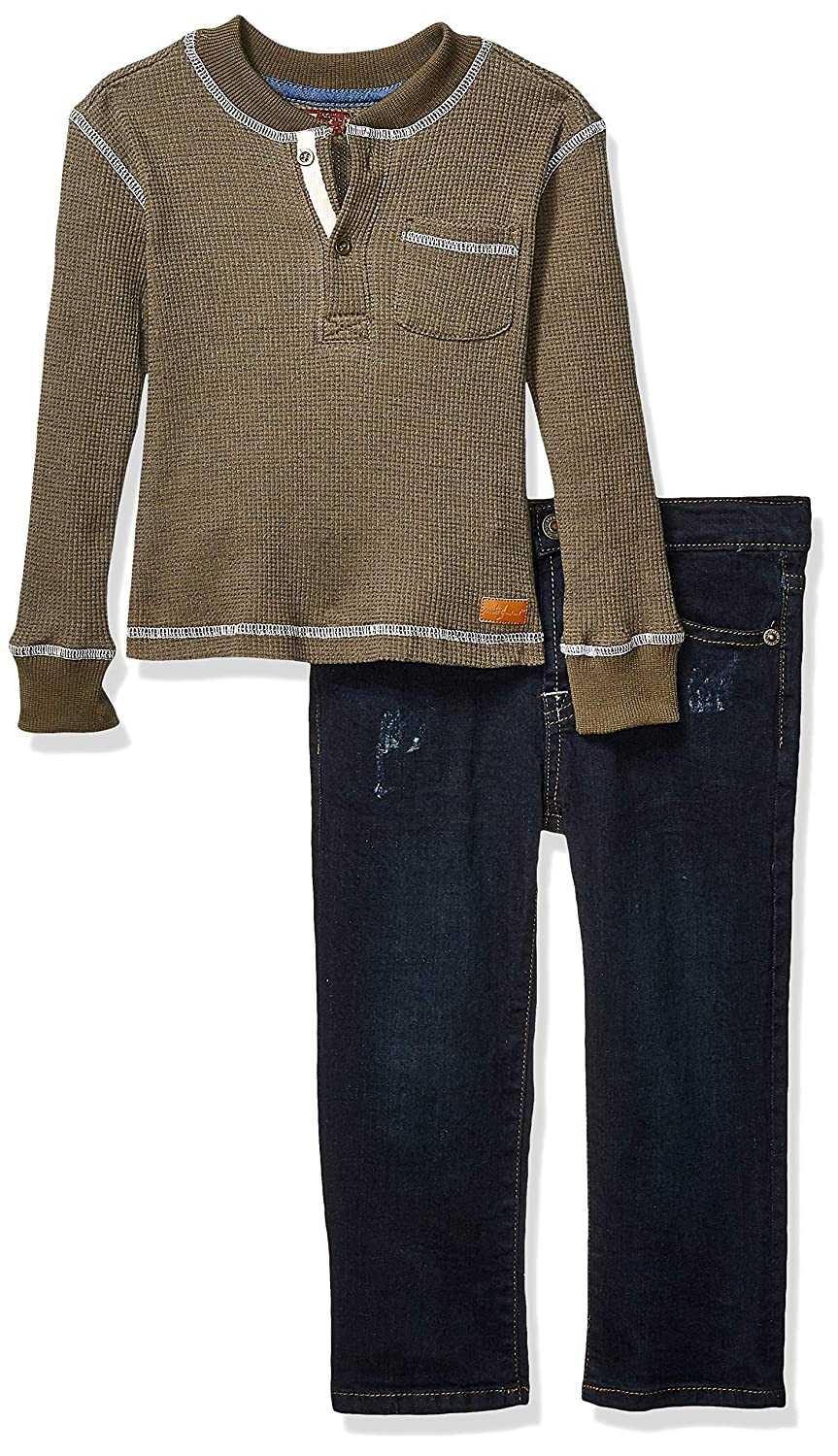 7 For All Mankind Boys Toddler Thermal Shirt and Denim Jean Set