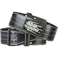 Genuine Leather Adjustable Weightlifting Belt: Heavy Duty Straight Weight Lifting Belt with 2 Prong Steel Buckle - Lower Back Support for Men or Women Weightlifters - 4 in Wide, 5 mm Thick - Black P