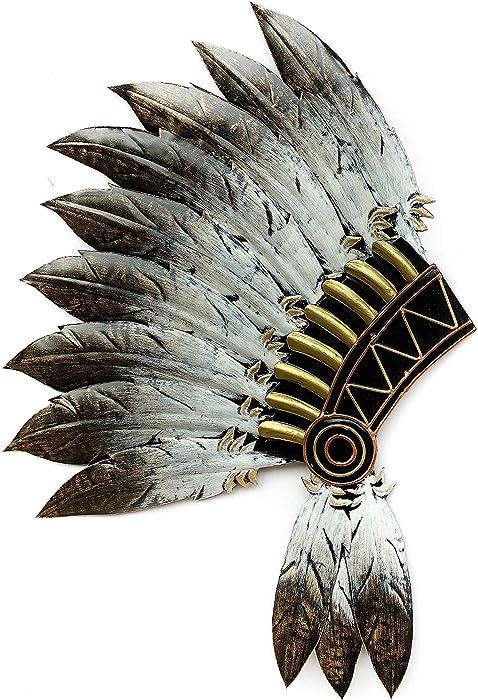 Crafia Native American Headdress Metal Wall Decor   Cast Iron Native American Wall Art and Ideas