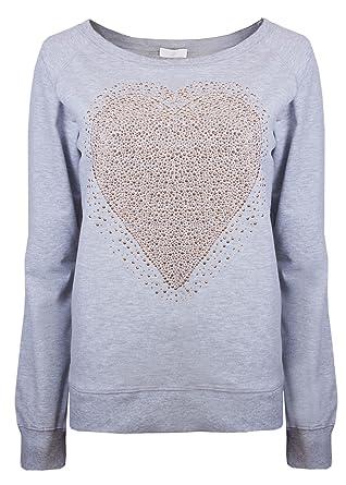 Damen Sweatshirts Damen Trainingsanzug Tops Brody   Co Gym Wear Herz Strass  Lounge Wear Gr. 34, Hellgrau  Amazon.de  Bekleidung 50d3e8eec8