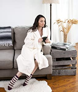 Chic Home Belgian Robe Cozy Super Soft Ultra Plush Faux Fur Fleece Sherpa Trim with 2 Pockets and Belt, 50 x 44, Beige