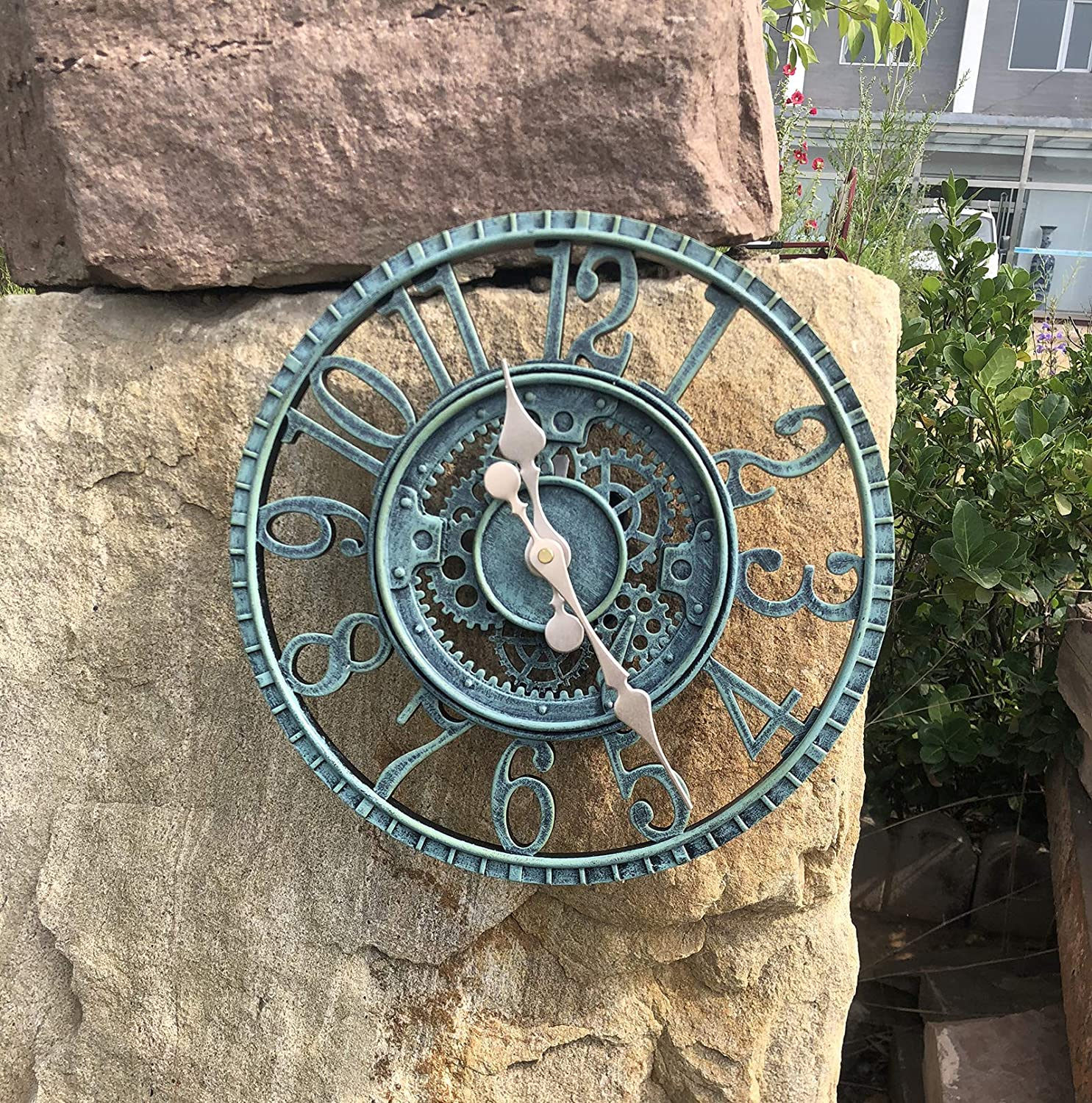 Outdoor/Indoor Wall Clock Waterproof, Silent Non Ticking 12 Inch Clock Decor Clock for Patio, Garden, Pool or Hanging Outside