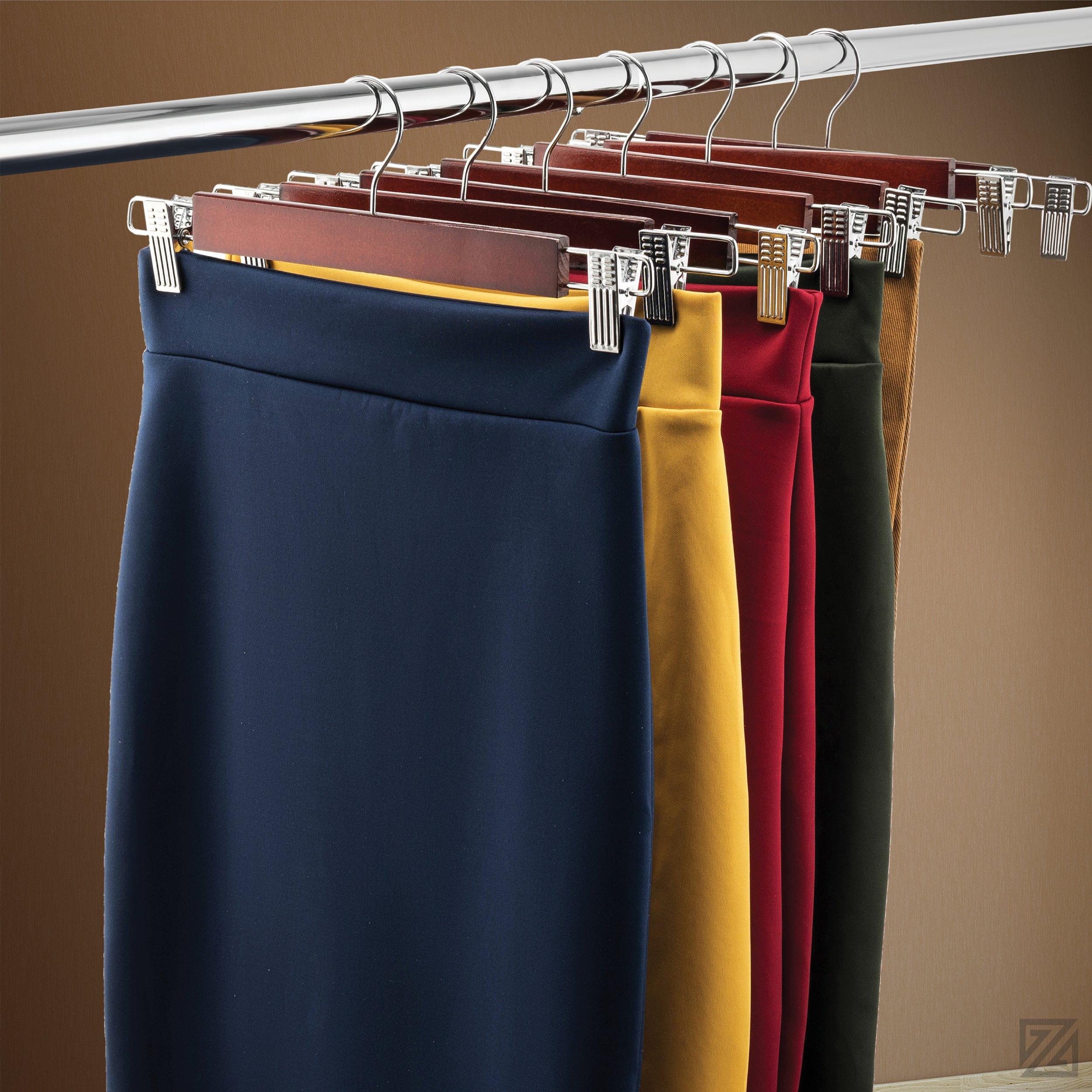 Zober Premium Wooden Skirt Hangers with Adjustable Clips (Pack of 10) Non-Slip Trouser Hanger Cherry Lotus Wood Pants hangers, 360 Degree Swivel Hook, for Skirts, Jeans, Slacks, Pants, 13'' Wide by ZOBER (Image #2)