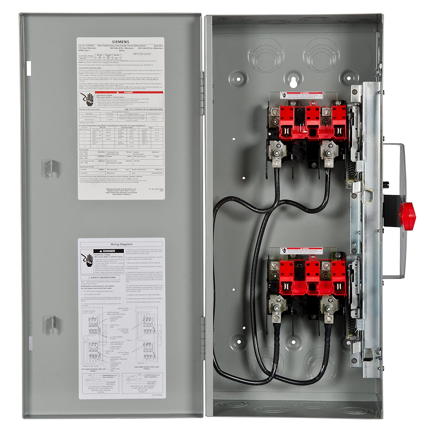 Siemens Dtnf223 100 Amp 2 Pole 240 Volt 2w Non Fused Double Throw 250 Wiring Diagram Safety Switches