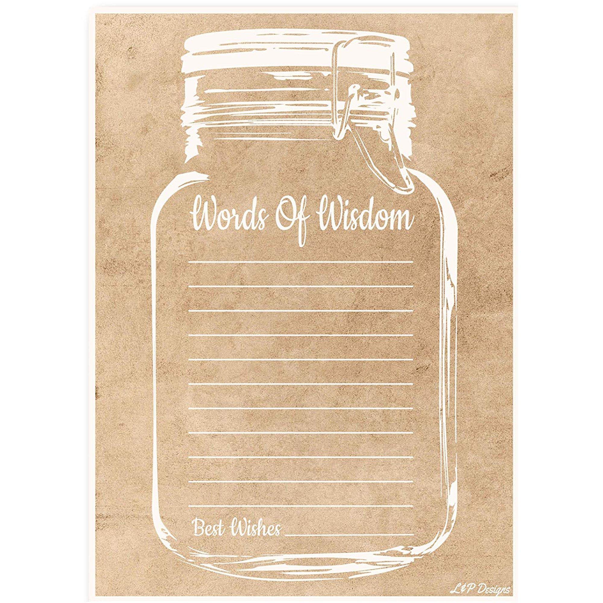 50 Rustic Mason Jar Gender Neutral Words of Wisdom Advice Cards, Graduation Advice Cards, Marriage or Wedding Advice Cards, Bridal Shower, Baby Shower, Boy/Girl Baby Prediction Advice, Housewarming