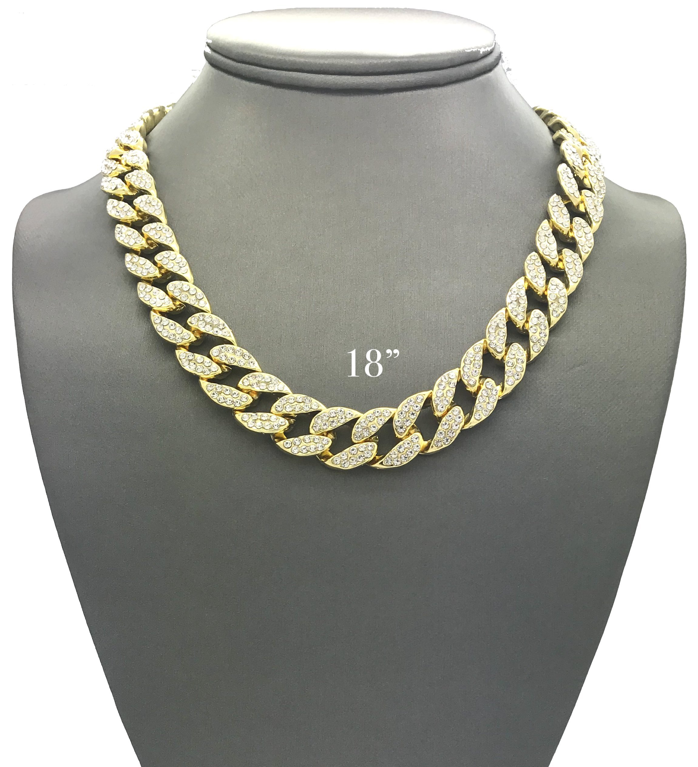 Mens Iced Out Hip Hop Gold tone CZ Miami Cuban Link Chain Choker Necklace (18'')