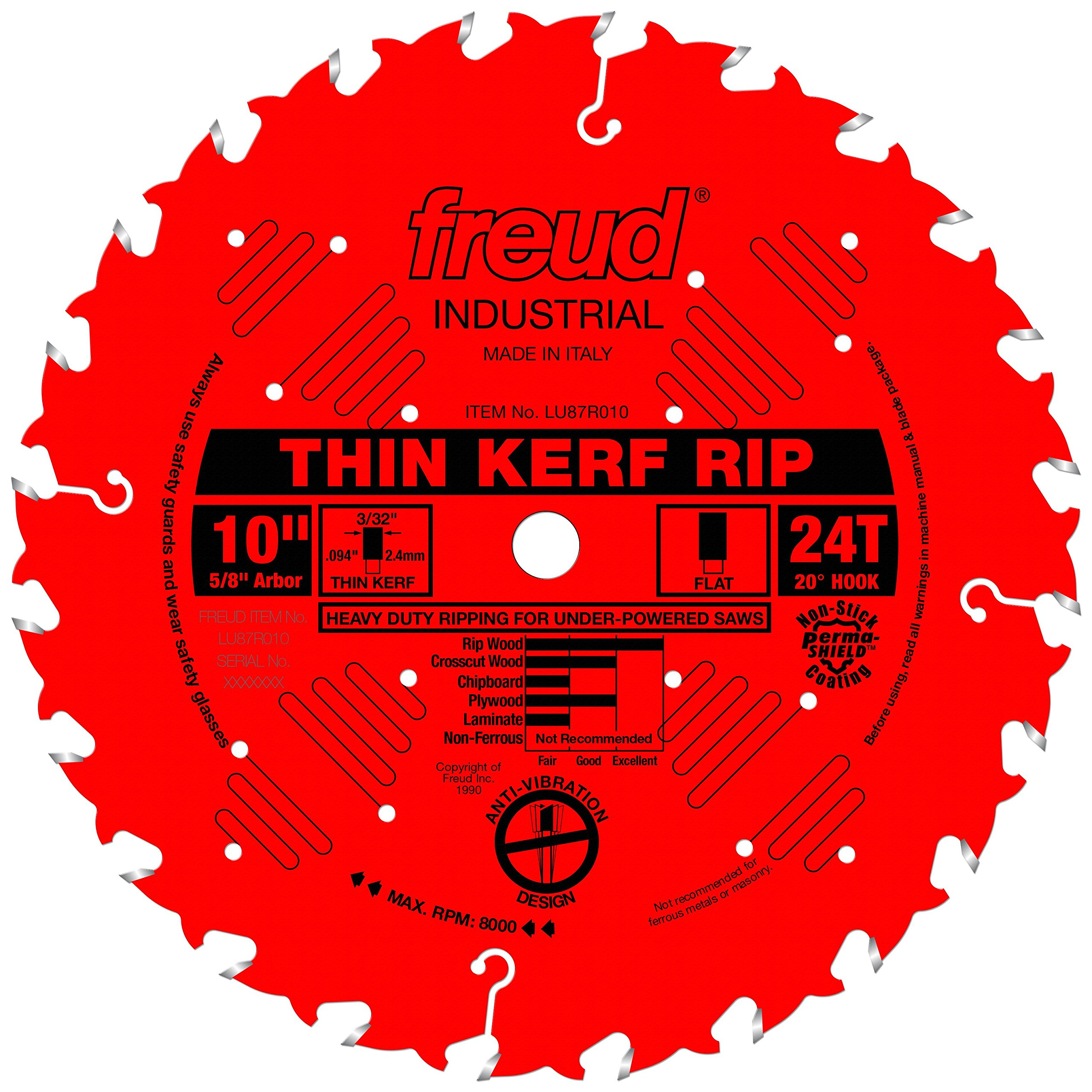 Freud 10'' x 24T Thin Kerf Rip Blade (LU87R010) by Freud