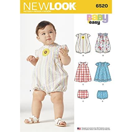 ba05b0fd4 Simplicity New Look Pattern 6520 Babies  Romper and Dress with ...