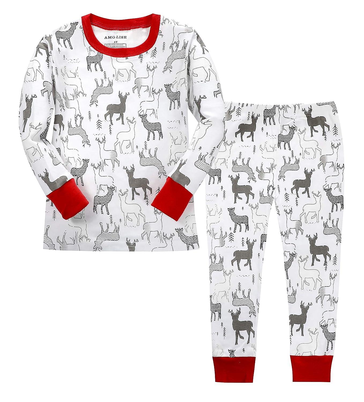 0a689dd408 Amazon.com  AMGLISE Christmas Pajamas Set Santa Claus Cotton Pajamas for  Boys Girls Kids Pjs Toddler Sleepwear  Clothing