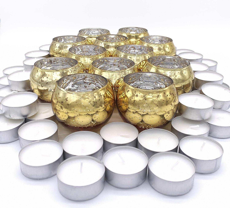 Maison Mia Mercury Glass Round Candle Votives Bundled with 50 Set Tea Lights (Gold)