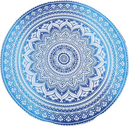 122 cm Ombre Mandala Roundie Tablecloth Boho Chic Cotton Throw Blanket for Picnic and Travel Sea Green Turquoise Round Tapestry 48 Inch