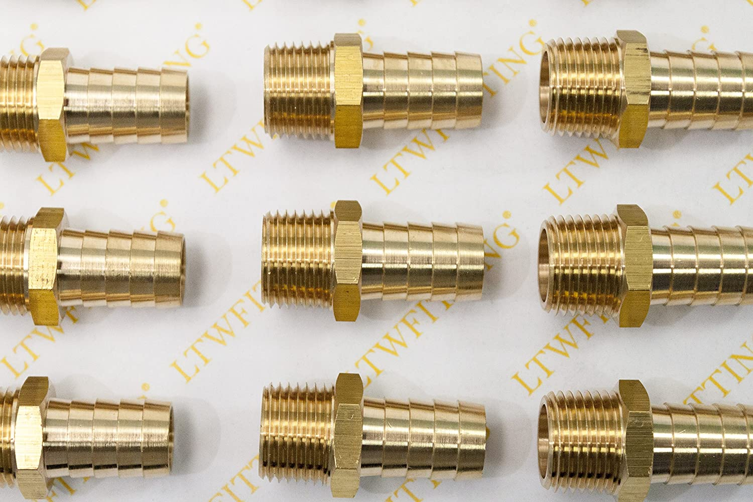 LTWFITTING Brass Barb Fitting Coupler//Connector 5//8-Inch Hose ID x 1//2-Inch Male NPT Pack of 20