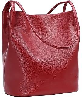 5fe5c76890af Iswee Leather Shoulder Bag Bucket Bag Hobo Lady Handbag and Purse Fashion  Tote for Women