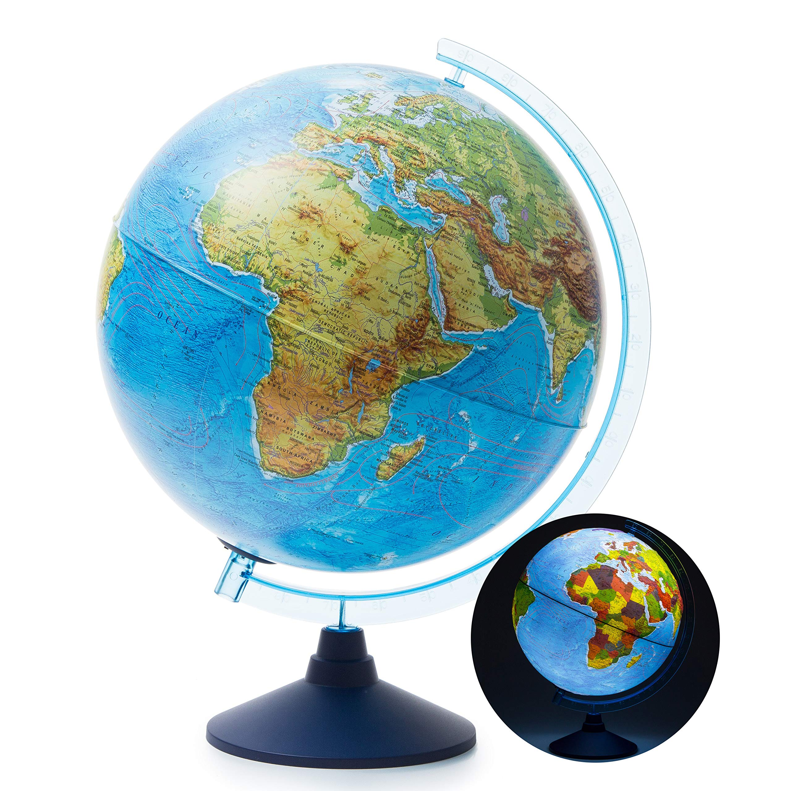 Exerz 12'' / 13'' / 32cm Jumbo Illuminated Globe with Cable Free LED Lighting/ 2 in 1/ Day and Night - Physical/Political Dual Mapping - Topography/Geography/Ridge