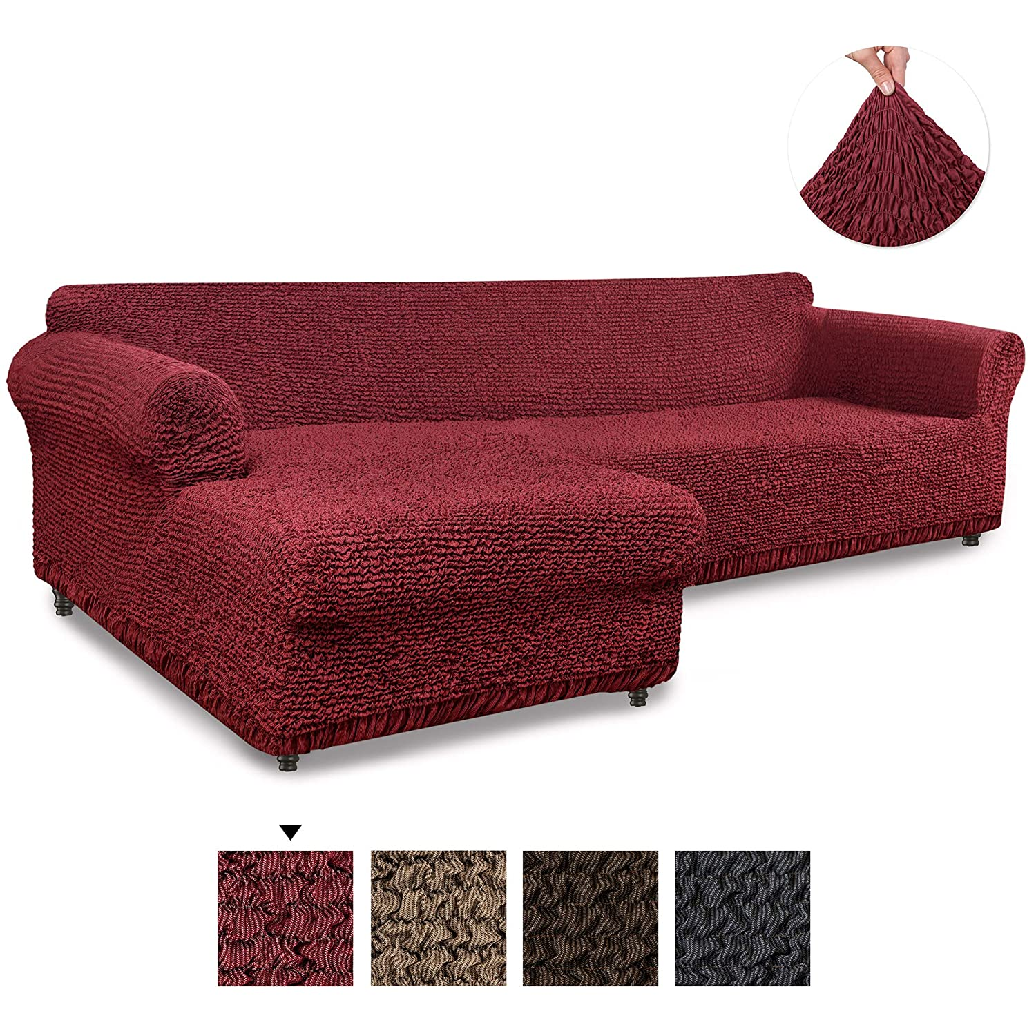 Brown Corner Couch Cover Sectional Sofa Cover Mille Righe Collection 1-piece Form Fit Stretch Furniture Slipcover Cotton Fabric Slipcovers Corner Slipcover Corner Sofa