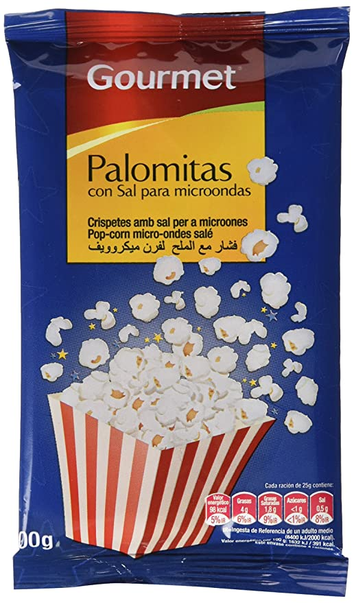 Gourmet - Palomitas con sal para microondas - 100 g - [Pack de 15 ...
