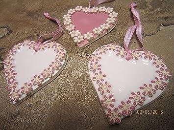 3 Tlg Vintage Herz Mit Blumen Set Weiss Rose Keramik Zum Aufhangen