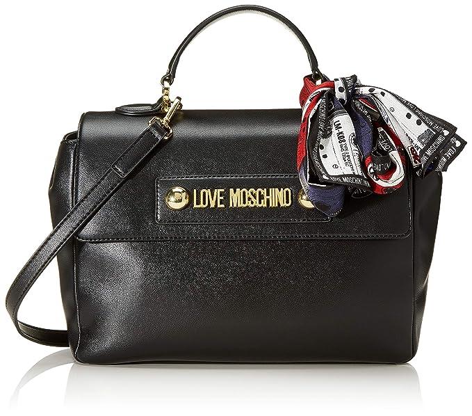 Love Moschino Borsa a mano in Pu con tracolla estraibile, Foulard estraibile.Chiusura con patta e bottoni magnetici. 20x31x11cm (WxHxL)