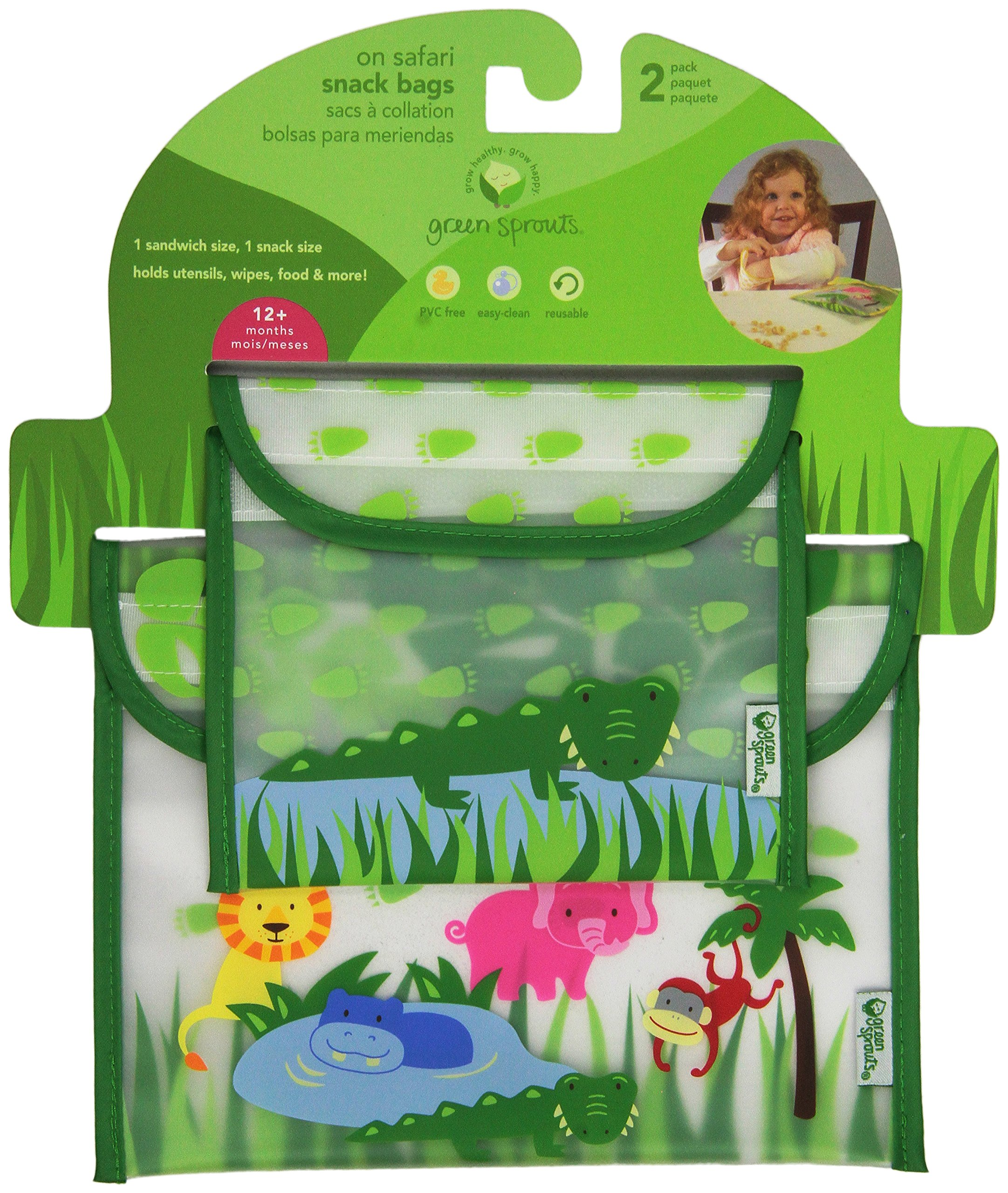 green sprouts 2 Count Safari Sandwich and Snack Bag, Green Alligator
