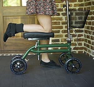 Steerable Knee Scooter Knee Walker Turning Leg Walker Crutches Alternative in Green
