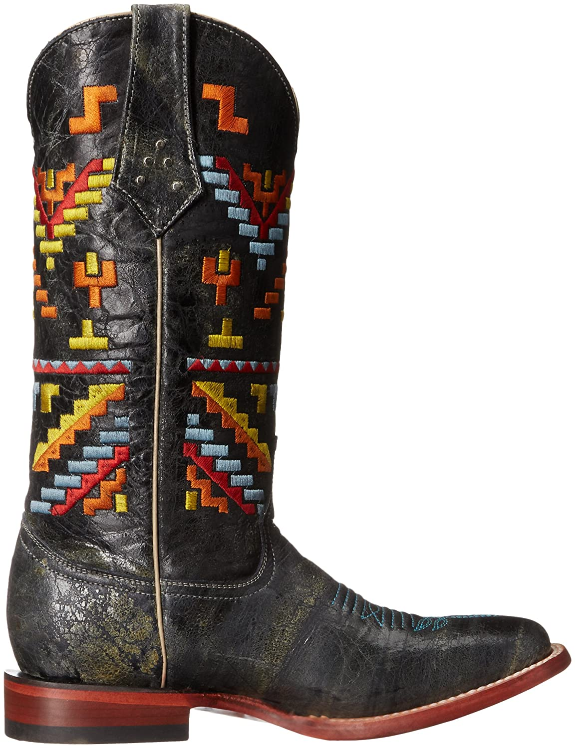 Ferrini Women's Ladies Aztec Cowgirl Teal Square Toe Western Boot B00CA1DEJG 7 B(M) US|Teal