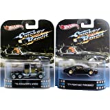 Smokey & the Bandit Hot Wheels Set - Kenworth Truck & Pontiac Firebird 2 Car Retro Entertainment 2013 Die Cast Burt Reynolds Movie Vehicle Replica