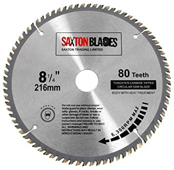 Tct21680t saxton tct circular wood saw blade 216mm x 30mm x bore x tct21680t saxton tct circular wood saw blade 216mm x 30mm x bore x 80t for bosch makita dewalt amazon diy tools greentooth Image collections